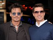 LOS ANGELES - 23 de JUN: Johnny Depp & Tom Cruise llega al paseo de la fama honores Jerry Bruckheimer