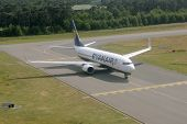 WEEZE, GERMANY - JUNE 29: Ryanair plane before the take-off on the runway of Weeze airport, Germany