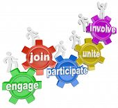 A team of people marching up gears with words Engage, Join, Participate, Unite and Involve to illust