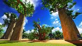 African savannah with lush and vibrant vegetation