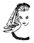 Coy Bride - Retro Clip Art Illustration