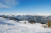 Panorama Of Mountain Range From Ski Slopes