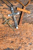 Catholic crosses in metal for nuns and wooden for monks