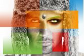 Conceptual fashion portrait of a male model in fur hat with colorful squares in primary colors superimposed