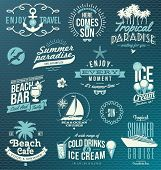 stock photo of palm  - Vector set of travel and vacation emblems and symbols - JPG