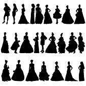 Women Silhouettes In Various Dresses. Vector Illustration