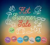 Hot summer sale banner vector illustration