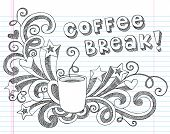 stock photo of brew  - Coffee Mug Back to School Sketchy Notebook Doodles with Lettering - JPG