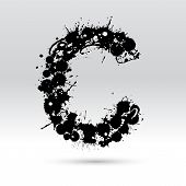 Letter C Formed By Inkblots