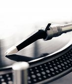 image of view from space needle  - Low angle view of old fashioned turntable playing a track from black vinyl - JPG