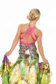 Woman Colorful Dress Back Hold Sides
