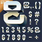 Vector alphabet of simple 3d letters. Sans bold. Symbols cases Chrome