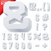 Three-dimensional condensed alphabet. Vector illustration of 3d font characters. Clear color style. Symbols
