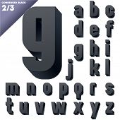 Three-dimensional condensed alphabet. Vector illustration of 3d font characters. Clear color style. Small case