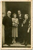 DABROWA GORNICZA, POLAND, CIRCA FIFTIES - vintage photo of unidentified newlyweds with parents, D?browa G�?�³rnicza, Poland, circa fifties