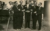 RYCHTAL, POLAND, CIRCA 18 JUNE 1946 - vintage photo of groom with groomsmen, Rychtal, Poland, circa