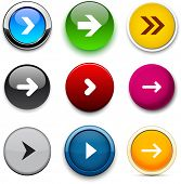 Set of arrow color round buttons for website or app. Vector eps10.