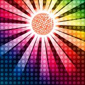 pic of jive  - Discoball with funky rainbow background EPS10 vector - JPG