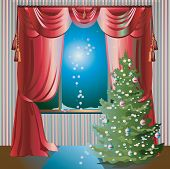 Holiday Scene with Christmas Tree