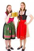 Beautiful Women In Dirndls Drinking Double Beer