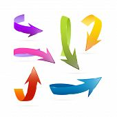 Colorful Vector 3D Arrows Set Isolated On White Background