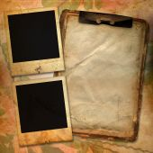 Vintage Background With Frames For Photo, Notebook And Flower Composition.