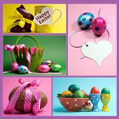Bright Colorful Easter Eggs Collage