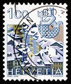 Postage Stamp Switzerland 1982 Aquarius, Old Bern