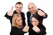 Young Business People Showing Thumbs Up