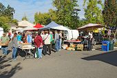 Buyers And Vendors At The Farmers Market In Calistoga, California
