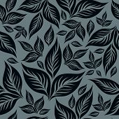 Seamless vintage grunge blue floral pattern with leafs