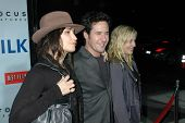 Gina Gershon with Rob Morrow and Debbon Ayer  at the Los Angeles Premiere of 'Milk'. Academy of Moti