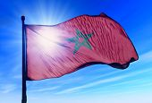 Morocco flag waving on the wind