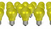 Group Of Yellow Reflective Light Bulbs