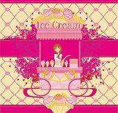 Abstract Card With Saleswoman Of Ice Cream