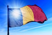 Romania flag waving on the wind