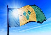 Saint Vincent and the Grenadines flag waving on the wind