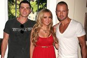 Matthew Lawrence and Heather Betts with Joey Lawrence   at the Red White and Blue Summer Oasis presented by Declare Yourself. Shore Estates, West Hollywood, CA. 08-23-08