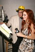 Phoebe Price and Paul Davids  at a recording session for the book on tape of