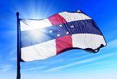 Netherlands Antilles flag waving on the wind