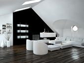 Modern design loft living room interior with skylights in the sloping ceiling and white and black de