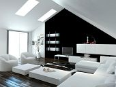 Modern compact loft living room interior with skylights in the sloping ceiling and white and black decor with a modern suite and cabinets