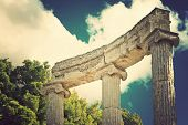 Archaeological Site Of Olympia, Greece. (Vintage style)