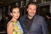MOSCOW - JUNE, 26: Writer S. Minaev with wife. Movie Premiere Yes and Yes. 36st Moscow International