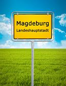 An image of the city sign of Magdeburg