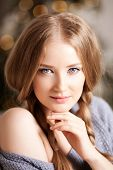 Face of a beauty young woman. Portrait of a beautiful modern girl friendly.