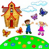Illustration Of Cartoon Lawn, Kids, House, Clouds And Butterflies
