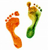 picture of footprint  - watercolor colorful footprint - JPG