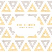 Abstract textile ikat yellow brown triangles frame seamless pattern background