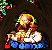 PARIS, FRANCE - NOV 11, 2012: Saint Paul apostle, stained glass from Church of St-Germain-l'Auxerroi
